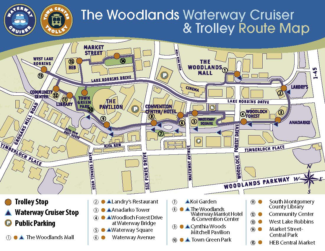 The Woodlands Waterway - Map courtesy of The Woodlands Convention and Tourist Bureau.